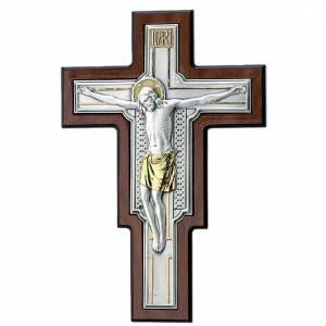 Crucifix en métal: Croix sur bois marron avec plaque en argent et dorée