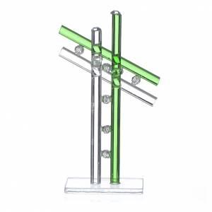 Bonbonnières: Croix verre Murano vert h 12 cm