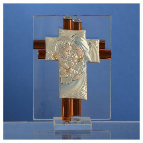Cross Holy Family amber Murano glass 8cm s2