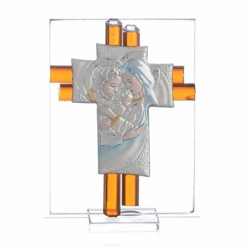 Cross Holy Family amber Murano glass 8cm s1