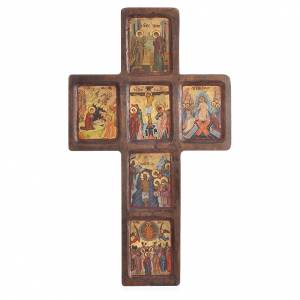 Cross icon with print of the Mysteries on wood, Greece 22x36cm s1