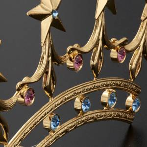 Crown for statues in gold plated filigree and color stones s6