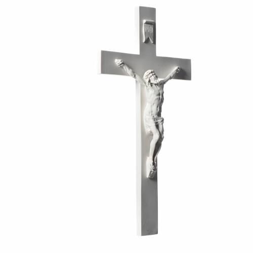 Crucifijo 50 cm mármol sintético blanco s2