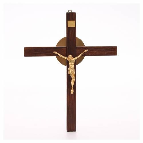 Crucifijo de madera de haya y cuerpo de bronce s1