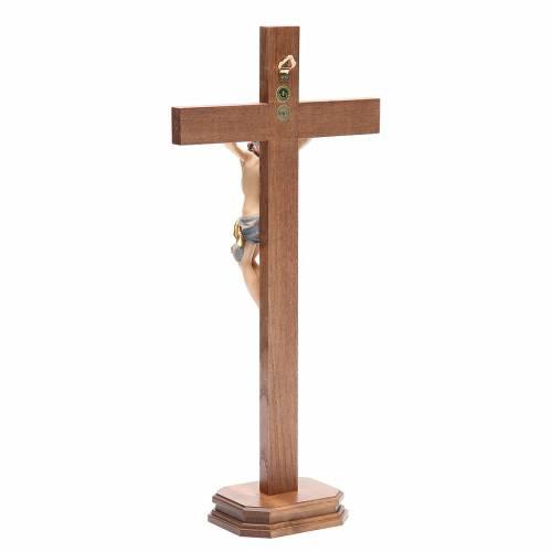 Crucifijo de mesa cruz recta madera Valgardena modelo Corpus s3