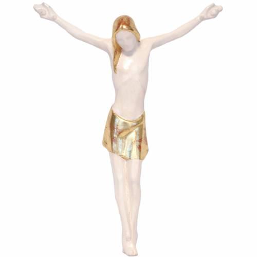 Crucifijo estilizado de madera de la Valgardena, Antiguo dorado s1
