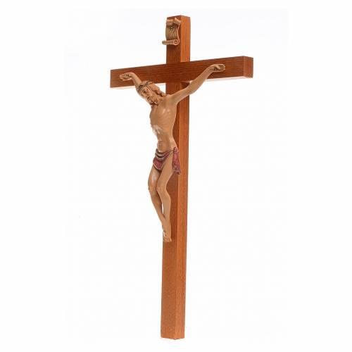 Crucifijo Fontanini 38x22 cuerpo pvc y cruz en madera s3