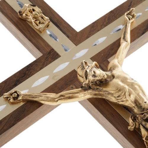 Crucifijo metal dorado y madera nogal s3