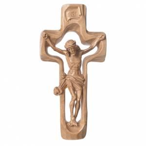 Crucifijo moldeado modelo Corpus, madera Valgardena patinada s1