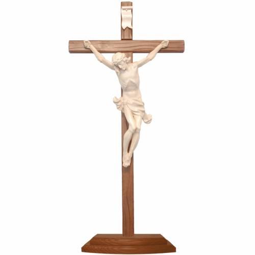 Crucifix à poser bois naturel ciré croix sculptée s1