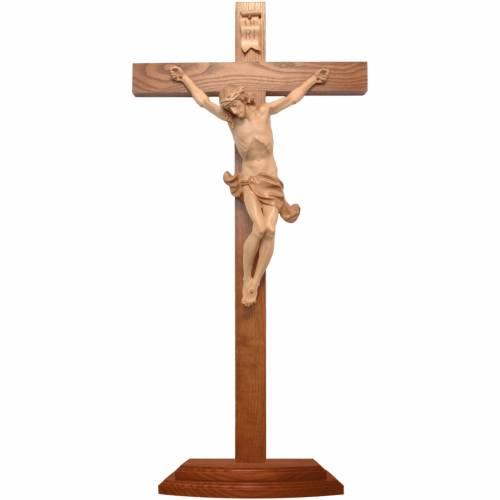 Crucifix à poser Corpus bois patiné multinuances Valgardena s1