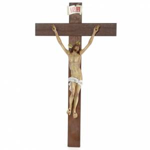 Crucifix, Agony, 45cm in wood paste with elegant decorations s1