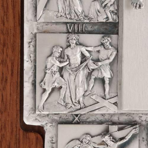 Crucifix argent chemin de croix 14 stations sur croix en bois s7