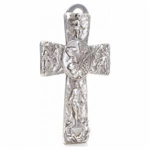Crucifix argenté resurréction, ascension, calice, s2