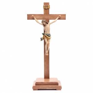 Crucifix à poser: Crucifix avec base croix droite bois coloré Valgardena