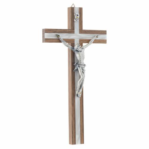 Crucifix bois foncé et métal décor simili n s3