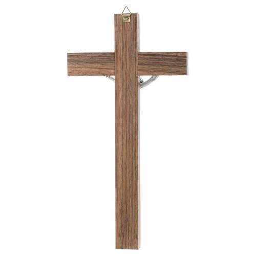 Crucifix bois foncé et métal décor simili n s4
