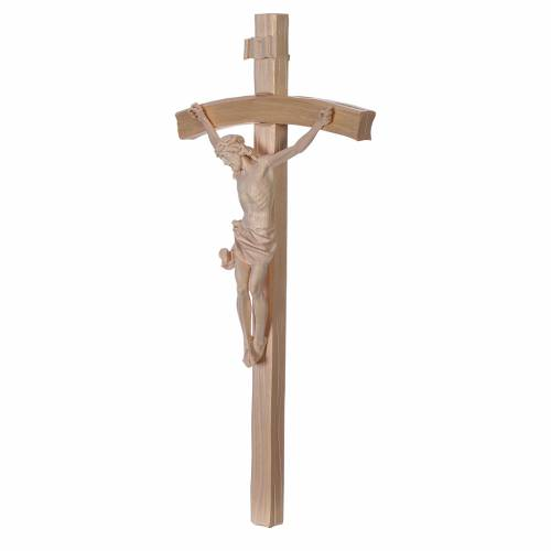 Crucifix, curved, Corpus model in natural Valgardena wood s2