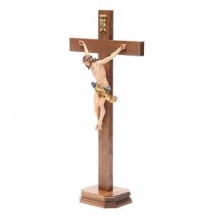Crucifix droit avec base bois Valgardena modèle Corpus s2