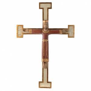 Crucifix en pierre Chist Roi en rouge croix blanche s1