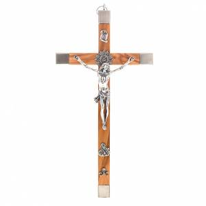 Wooden crucifixes: Crucifix for priests in olive wood and stainless steel 30x15 cm