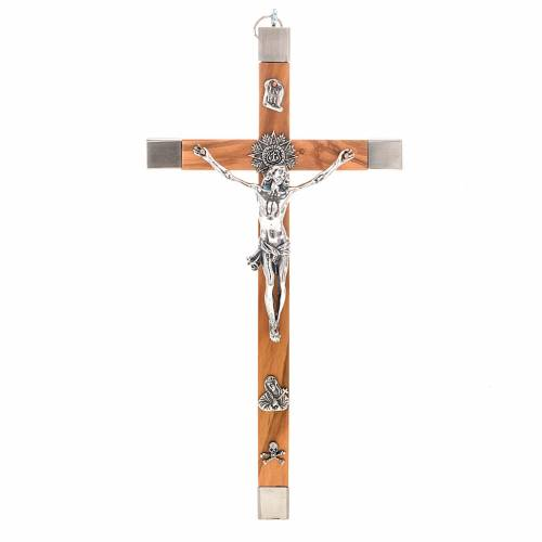 Crucifix for priests in olive wood and stainless steel 30x15 cm s1