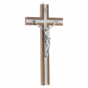 Crucifix in dark wood with pearly metal insert s3