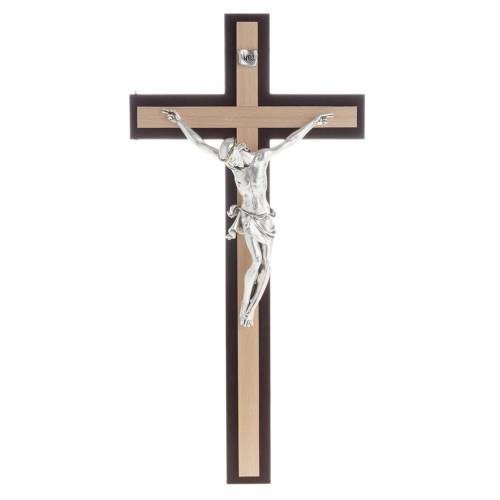 Crucifix in wenge and beech wood, silver metal body s1