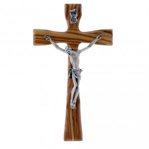 Wooden crucifixes: Crucifix modern in olive wood with silver body 17 cm