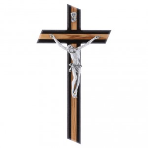 Wooden crucifixes: Crucifix modern in wenge wood and olive wood with silver body 25 cm