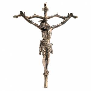 Crucifix pastoral stylisé laiton bronzé 28x22cm s1