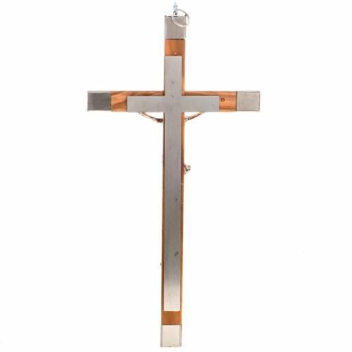 Crucifix pour prêtre en bois olivier et acier 30x15cm s3