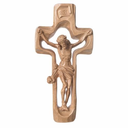 Crucifix profilé bois patiné Valgardena s1