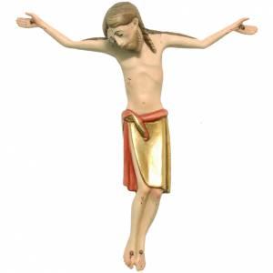 Crucifix, Romanesque style 17cm in coloured Valgardena wood s1