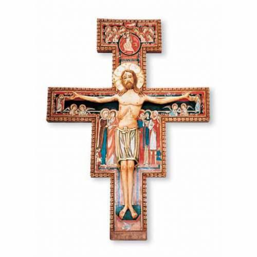 Crucifix Saint Damien en bois peint s1