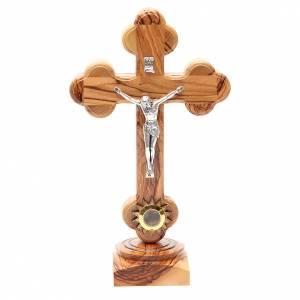 Crucifix à poser: Crucifix trilobé à poser olivier Palestine terre 21 cm