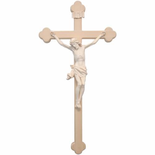 Crucifix trilobé mod. Corpus bois naturel Valgardena s1