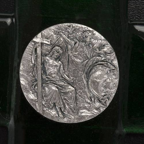 Crucifix verre Murano émeraude baptême de Jésus s2