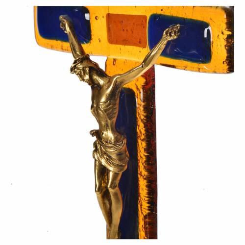 Crucifix verre topaze Corps doré s2