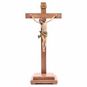 Crucifix with base, straight cross in coloured Valgardena wood s1