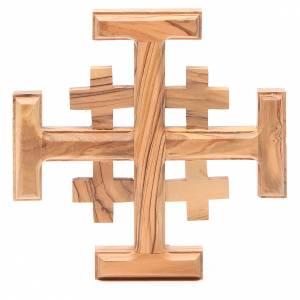 Cruz de Jerusalén madera de olivo Tierrasanta 15 cm s1