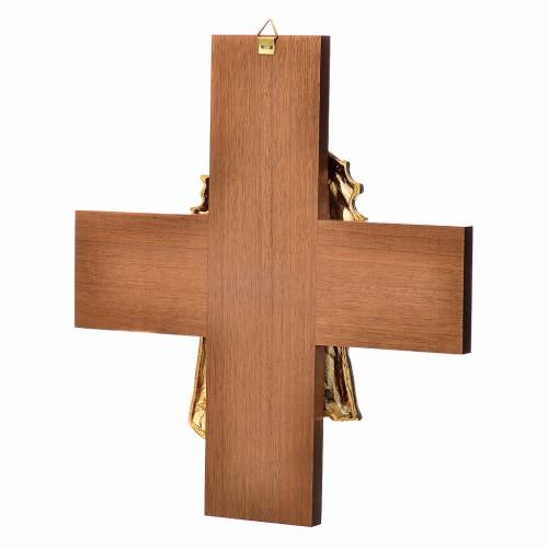 Cruz de madera nogal rostro de Jesús en metal s4