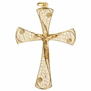Colgantes, cruces y broches: Cruz filigrana de plata 800 con baño de oro, 5,47gr