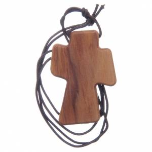 Colgantes Cruz Madera: Cruz madera olivo Espíritu Santo relieve 5 cm