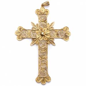 Artículos Obispales: Cruz pectoral de plata 800 dorada en filigrana con rayos