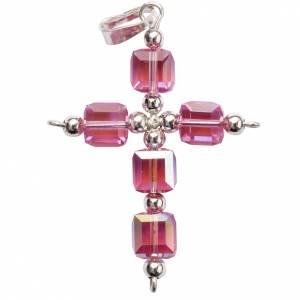 Colgantes, cruces y broches: Cruz Swarovski rosado forma de cubo