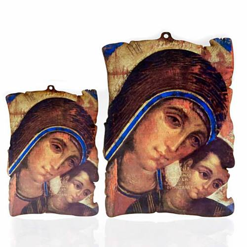 Cuadro madera forma pergamino María con Jesús s1