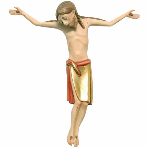 Cuerpo de Cristo estilo románico 17 cm. madera Valgardena s1