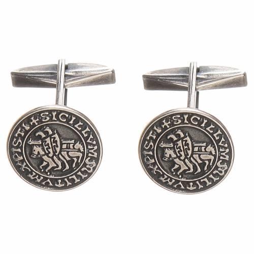 Cufflinks burnished Silver 800, Sigillum Militum Xpisti 1,6cm s1