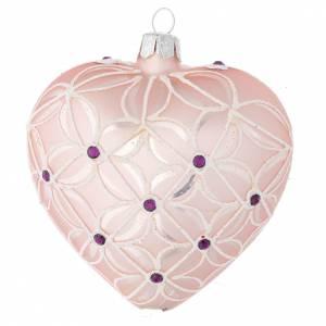 Cuore Albero Natale vetro soffiato rosa e viola 100 mm s1